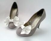 Bridal Shoe Clips,White Satin Bows,Wedding Shoes Bows,Flower Shoe Clips