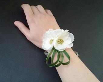Flower Wrist Cuffs - Ivory/Cream Flowers & Ribbon Flower Wrist Corsages, Fairy Princess,Prom,Wedding