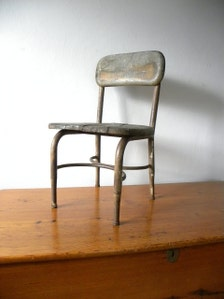 Vintage Wood And Cast Iron Child S School Chair