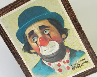 Vintage Chuck Oberstein Clown Portrait