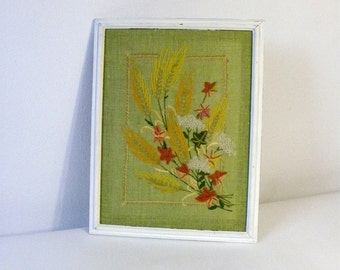 Vintage Handmade Crewel Work-Floral Picture