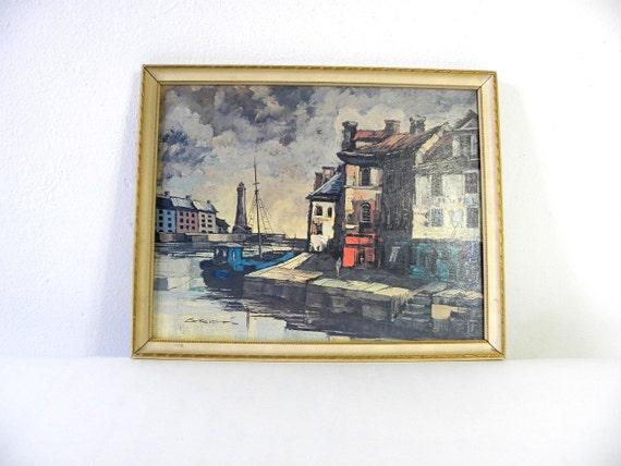 M Edward Griff Harbor Painting Print 1950s