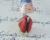 Vintage Bobble Head 2-Faced Asian Doll - Chalkware - Tiny - Made in Japan