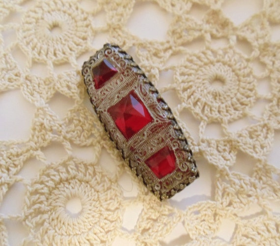 Antique Red Rhinestone Brooch - Pin with Finely Etched Silver Design - Unique - Beautiful