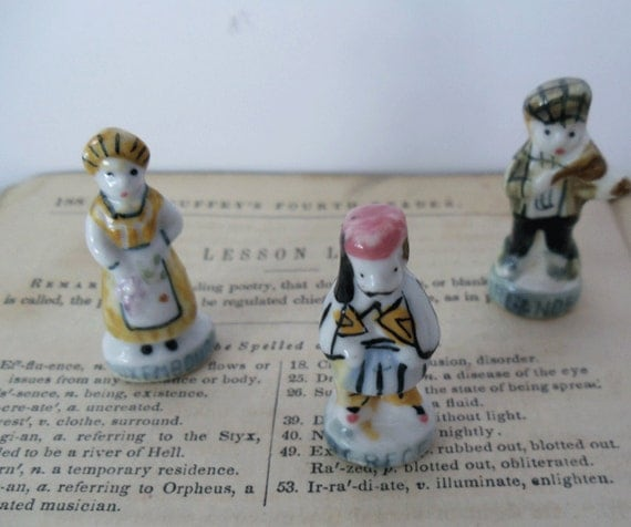 3 Vintage FRENCH MINIATURE FIGURINES - Around the World Feves - Greece - Ireland - Luxomburg -  Miniature Santons