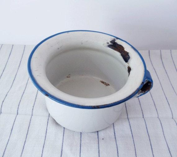 Vintage Childs Chamber Pot Pee Pot Enamelware Farmhouse