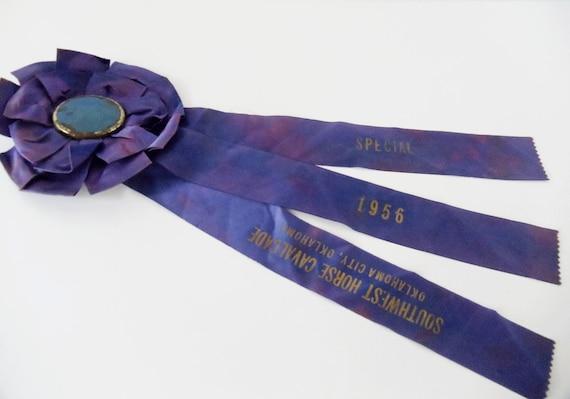 Vintage Horse Cavalcade Award Rosette Ribbon - 1956 - LARGE Purple Satin Ribbon