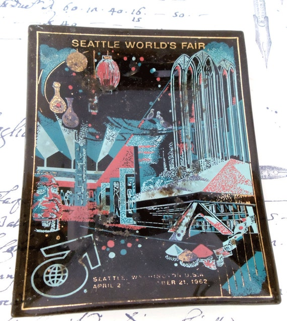 1962 Seattle Worlds Fair Souvenir Glass Dish for  Keys or Change - Black with Turquoise Gold & Pink  Mid Century Modern Design