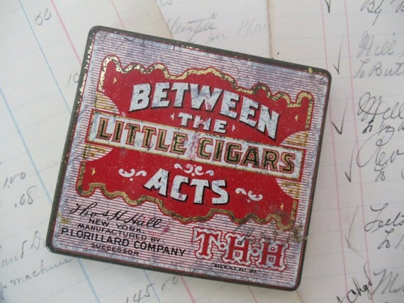 Vintage Little Cigars Tin Box - Hinged - Between The Acts - Red and Gold Square