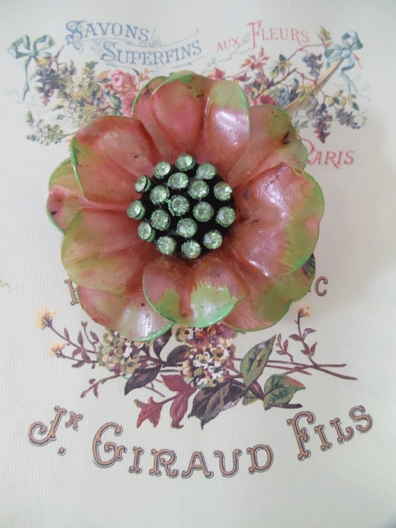 Vintage Flower Brooch / Pin - Dusty Rose with 18 Chartreuse Rhinestones - Handpainted - SUMMER Accessory