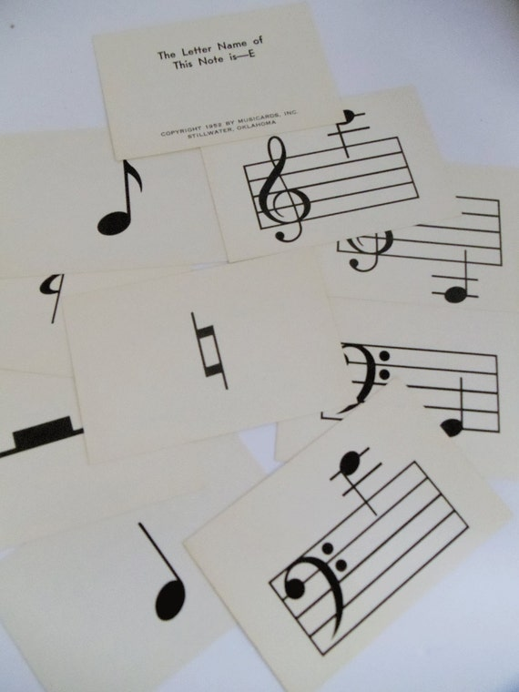 Vintage MUSIC Flash Cards - 60 in Deck -  Original Box - Assemblage, Scrapbooking, Collage, Altered Art - MUSIC TEACHERS