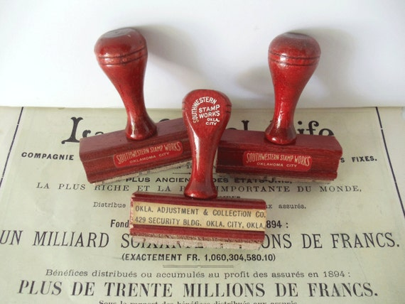 3 Vintage Office Rubber Stamps with Wooden Handles -  Collage - Mixed Media