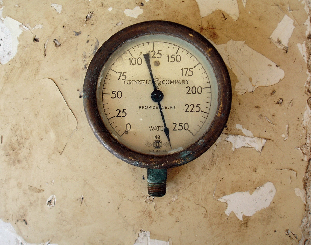 Antique vintage 1940 39 s industrial grinnell company inc - Steampunk pressure gauge ...