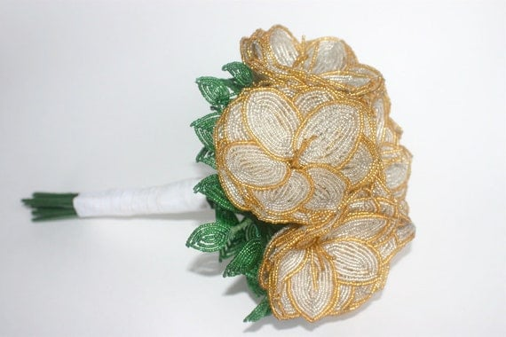SALE- Silver French Beaded Flower Wedding Bouquet