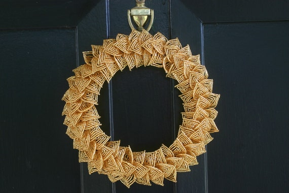 SALE-Gold French Beaded Decorative Wreath (Small)