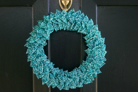 SALE- Ocean Blend French Beaded Decorative Wreath (Small)