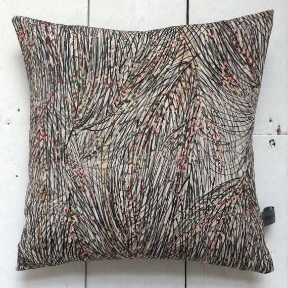"""Grey, black & green Vintage Kimono Fabric Cushion Pillow 'Pine Needles' (1950 - 12"""" x 12"""")"""