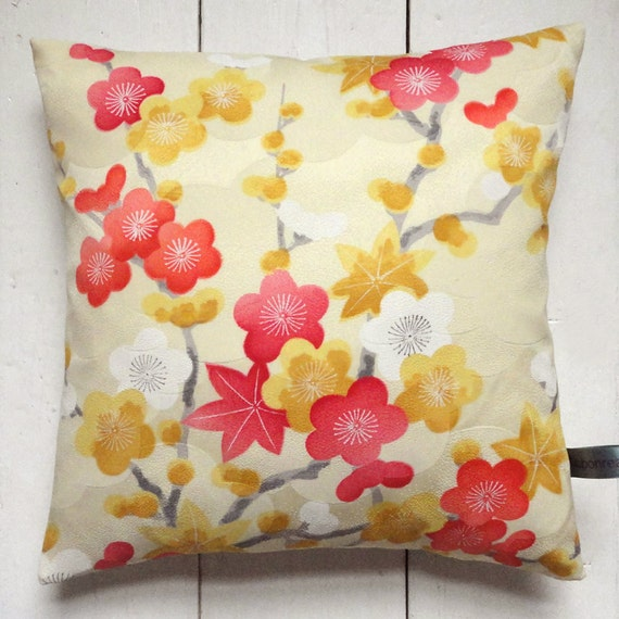 "Pale Yellow, white, red and grey Vintage Kimono Fabric Pillow Cushion 'Plum Blossom and Maple Leaves' (1970 - 12"" x 12"")"