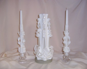 Carved wedding unity candle set