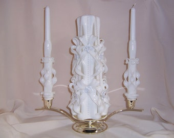 Carved  bow and pearl wedding unity candle