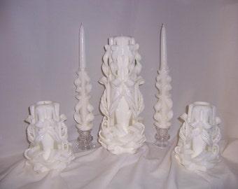 Carved wedding unity set
