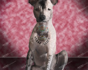 Mexican Hairless Print  Tough Dog Art, Unique dog Art, Tattoo Dog Art Print, Dog Lover Gift, Modern Dog Art, Dog Art Print, Pet Lover Gift