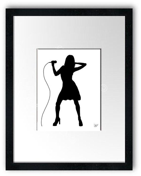 Rocker Silhouette Print No. 16, Modern Wall Art, Wall Art Print, Rock Silhouette Art, Rock Lover Gift, Custom, Silhouette Wall Art