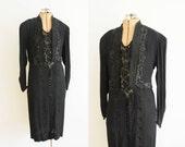 Edwardian Mourning Dress / 1910s Beaded Sequin