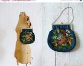 25%sale Antique 1920s-30s Bouquet Tapestry Purse