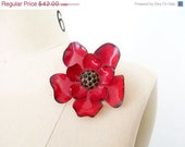 15%off Red Flower Brooch / Garnet / Large Pin