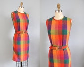 1960s Dress / 60s Plaid Shift Dress