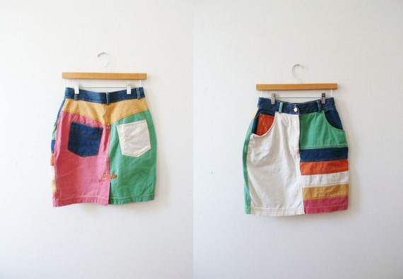 s a l e 1980s Skirt / Color Block
