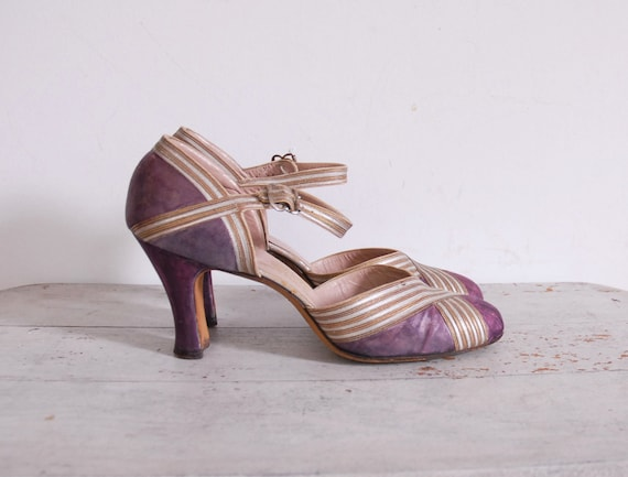 1930s Satin Heels / 30s Strappy Shoes