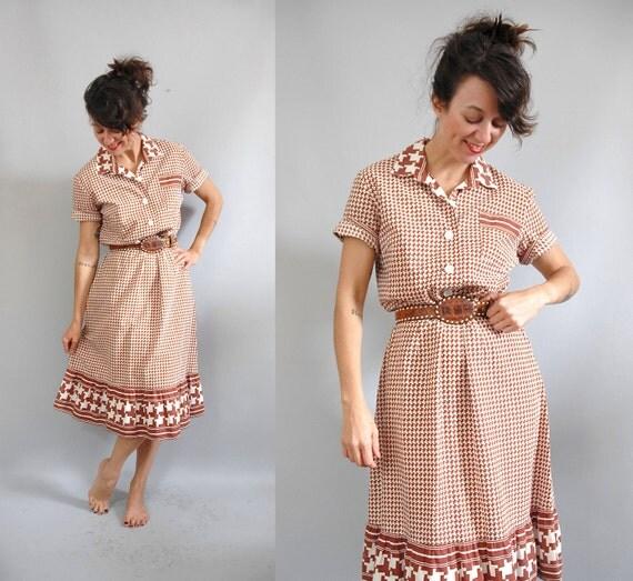 vintage 1960s Dress / 60s Dress / Chocolate Frills