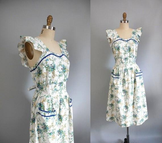 vintage 1950s Dress / 50s Dress / Cotton Ruffles