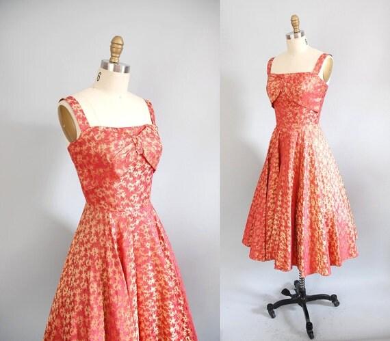 1950s Dress / 50s Fire Brocade Gown