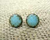 Pottery Post Earrings- Green Patina