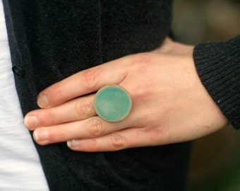 X-Large Adjustable Pottery Ring- Turquoise