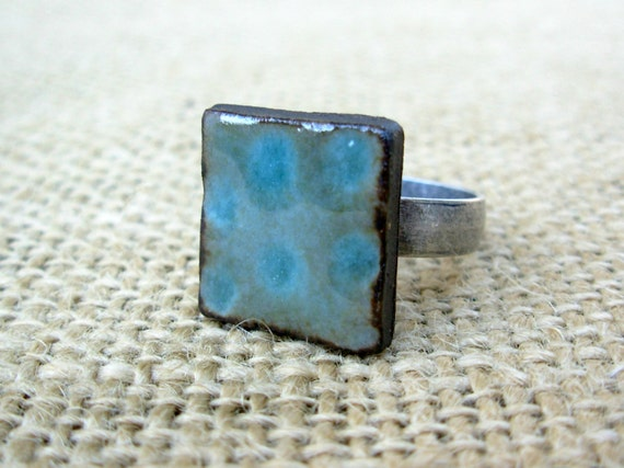 Adjustable Square Pottery Ring- Teal Dot