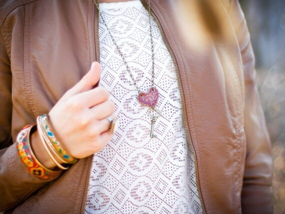 Key to My Heart Necklace- Purple Orchid