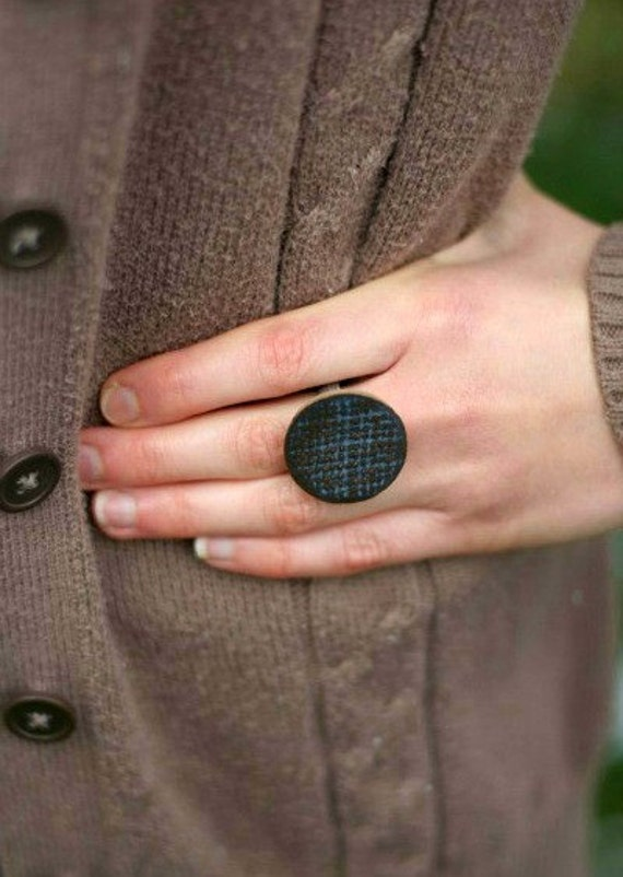 X-Large Adjustable Pottery Ring- Denim Blue