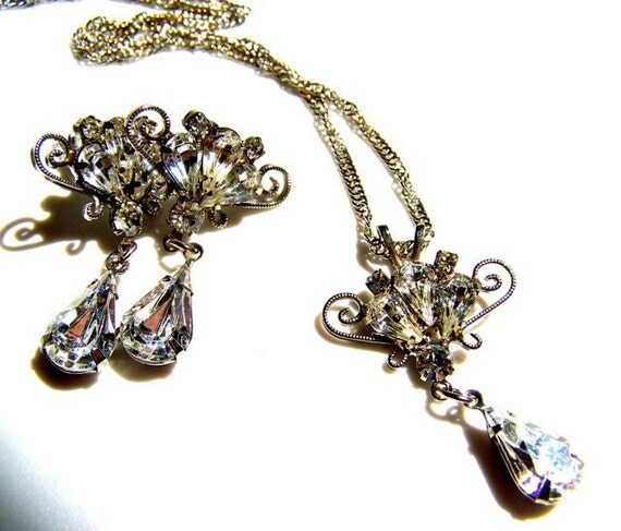 Wedding Jewelry, Vintage Necklace, Earrings, Bridal Jewelry by dabchickvintagegems on Etsy
