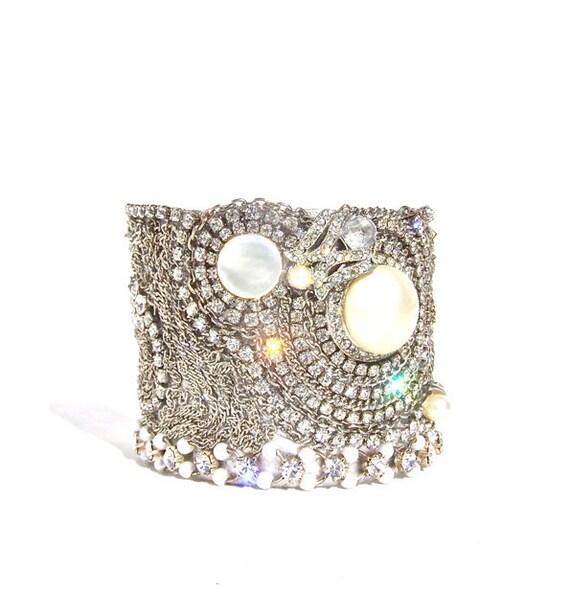 Pearl Cuff Bracelet, Vintage Rhinestones by dabchickvintagegems on Etsy