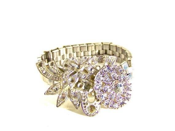Shabby Chic Vintage Rhinestone Repurposed Bracelet by Dabchick Vintage Gems on Etsy