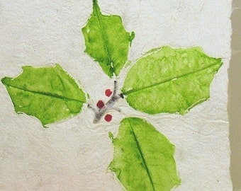 Christmas Holiday Cards Hand Painted Holly Leaves on Hand Made Paper Blank on the inside  Need More?  Ask.