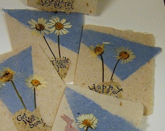 Exclusive Set of Five Hand Made Paper White Daisy Floral Cards--Hand Stamped- All Occasion
