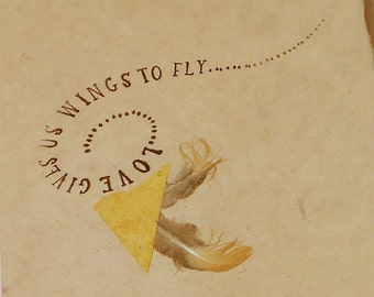 Fly Away Love--Anniversary, Wedding, Mother's Day, Birthday--Hand Made Paper Card with Gold Feathers