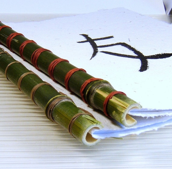 Ivory HandMade Paper Oriental Journal with Green Bamboo Spine