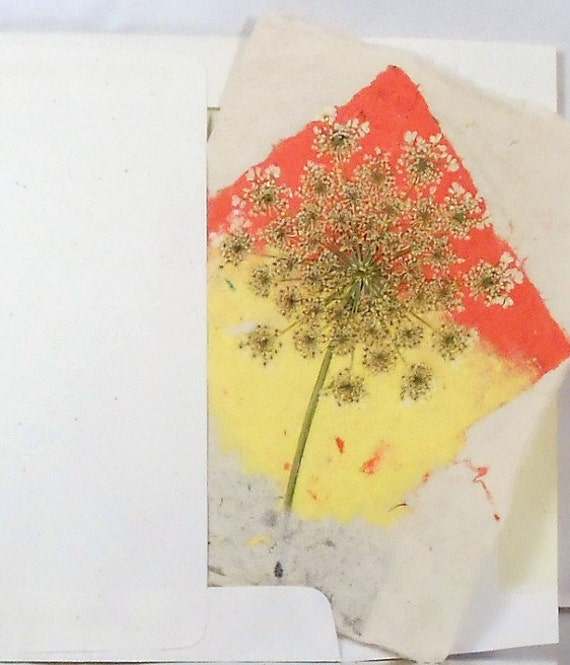 Hand Made Paper Bold Queen Anne's Lace Diamond Card --Get Well, Good Luck, Thinking of You Card