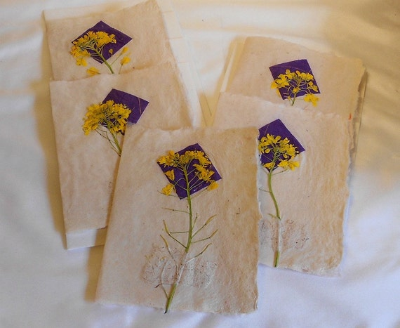 Complementary Royal Purple and Lemon Yellow Hand Made Paper Cards-Set of 5 cards